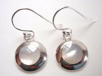 Round Mother of Pearl Silver Border 925 Sterling Silver Dangle Earrings
