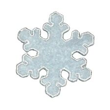 ID 8122 Fuzzy Snowflake Patch Winter Christmas Ice Embroidered Iron On Applique