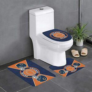 Chicago Bears Non-Slip Bathroom Bath Mat Set 3PCS Toilet Lid Cover Contour Rug