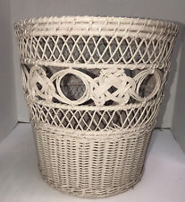 Vintage Wicker  Waste Paper Basket Shabby Chic Trash Can 10.5