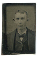"TINTYPE PHOTO: Gem Size (1 x 1.50"") Young Man in Suit, Coat, Bow Tie"