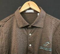 PETER MILLAR Men's Long Sleeve Golf Polo Shirt sz L Large Brown/Blue Striped