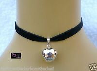 9mm Handmade black velvet choker necklace silver bell cat collar goth cosplayUK