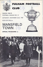 FULHAM  V MANSFIELD TOWN 3RD DIVISION 22/11/69
