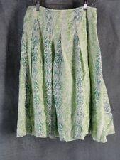 Coldwater Creek PM Pretty Green Print Pleated Skirt Petite