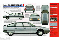 CITROEN CX GTI TURBO SPEC SHEET / Brochure / Catalog: 1984,1985,1986,.....