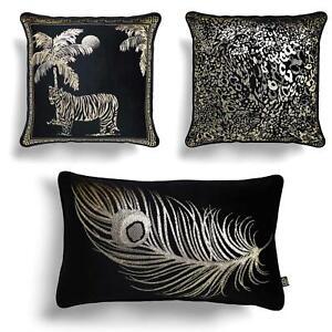 Black Velvet Filled Cushion Gold Metallic Animal Print Feather Boudoir Cushions