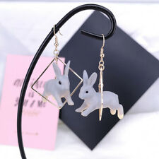 Women Lovely Rabbit Animal Geometric Square Drop Dangle Earrings Jewelry Gif TDC