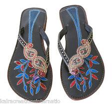 Indian Handmade Women Slippers Shoes Flip-Flops Leather Sandal Flat Kciw123 US 6