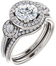 GIA 1.20 carat Round Diamond Halo Engagement 14K White Gold Ring 1.57 ct tw G VS
