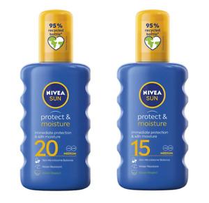 2x 200ml NIVEA SUN LOTION Spray SPF 15 20 UVA UVB Water Resistant Medium Protect