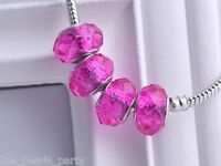10pcs 15x9mm Lampwork Glass Faceted European Charm Loose Big Hole Beads Rose Red