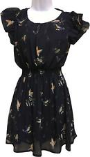 Pre-Owned Femmes Glace Babe bleu volants Bird Pattern robe taille M/Large L26'