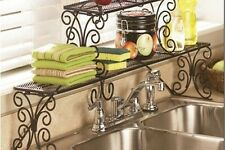 Hand Iron LONG Over-the-Sink Sink Shelf Rack 2 Tier Removable Scrolled BLK003