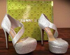 NIB Gianni Bini Kionna Women's Silver Platform Shoes Size 6.5 Jeweled Metallic