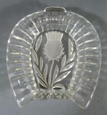 Vintage art deco depression glass pin dish -etch thistle motif  horseshoe-shaped