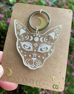 Witchy Cat Keyring, Clear Engraved Acrylic, Acrylic Keyrings