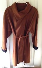 Vera Pelle Women's Italian Brown and Black Suede Leather Coat, Size Large USA