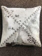"Black, Grey & White  Cowhide Cushion - Handmade - 16"" x 16"""