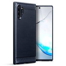 Samsung Galaxy Note 10 Plus TPU Gel Silicone Rubber Case Carbon Fibre in Blue