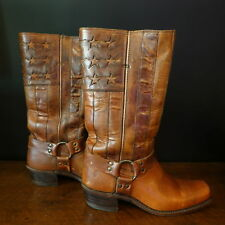 Womens Frye Americana Tan Brown Leather Boots 10 Engineer Harness Stars Stripes