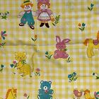 Vintage Nursery Baby Animals Sewing Fabric Remnant Yellow Check 1 yard + 12'
