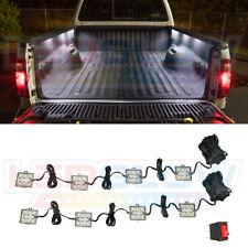 8pc LEDGLOW WHITE LED TRUCK AUXILIARY BED LIGHTING LIGHT KIT w ON/OFF SWITCH