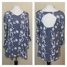 Umgee USA Size Small Gray Floral Embroidered Dress Boho Bell Sleeves Keyhole