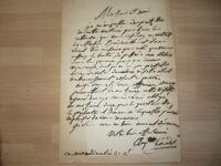 Carta Firmada de Luis Carlos Auguste Couder (1790-1873) Pintor