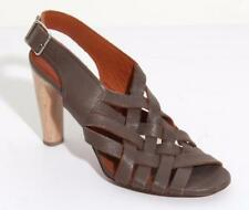 LANVIN Womens Taupe Leather Woven Buckle Wood-High-Heel Sandal Shoes 7.5-37.5