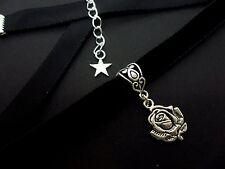 Flower Charm Choker Necklace . New. A Ladies Girls 10Mm Black Velvet Rose