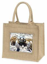 Crab on Sand Large Natural Jute Shopping Bag Christmas Gift Idea, AF-C1BLN