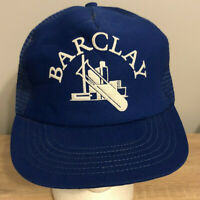Barclay Mesh Back Trucker Hat Snapback Cap Blue Vintage 90s USA
