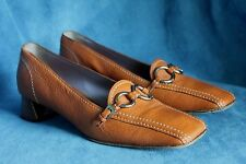 Authentic PRADA ITALY Brown Leather Steel Buckle Size 38 1/2 Pump Low Heel Shoes