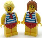 Lego 2 New Beach Goer Girl Minifigures Female Figures Swimsuit Figs