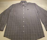 Cinch Sz M Grey Plaid 100% Cotton L/S Button Down Casual Shirt