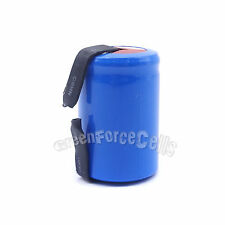 1 pc 4/5 SubC Sub C 1600mAh NiCD 1.2V Rechargeable Battery Cell with Tab Blue