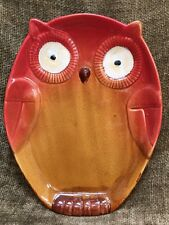 """New NWT Gibson Home Stoneware Hoot OWL PLATE 9"""" Dinner Serving Plate"""