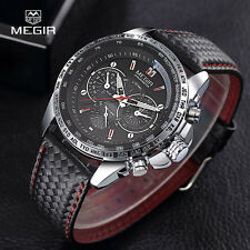 MEGIR Mens Leather Band Aviator Army Sport Quartz Wrist Watch Fashion Xmas Gift