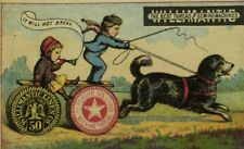 1870's Willimantic Thread B.O. Titus Dry Goods Dog Pulling Cart & Children P99