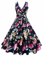 Women's Flared Pin Up Plus Size 50s 60S Rockabilly Floral Swing Vintage Dress