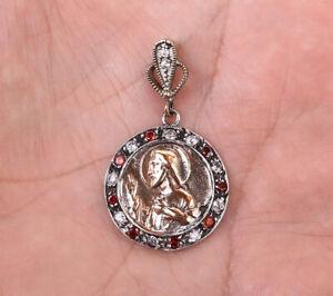 JESUS RUBY .925 SILVER & BRONZE PENDANT #10955