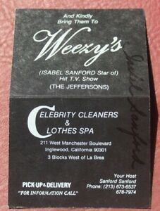 """Isabel """"Weezy"""" Sanford AUTOGRAPHed Weezy's Celebrity Cleaners & Clothing Card"""