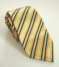 NWOT Authentic YVES SAINT LAURENT Gold Blue White Striped Print 100% Silk Tie