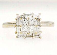 18carat Oro Blanco Diamante 0,64 ct princesa tensión Cluster anillo tamaño K 8mm Cabeza