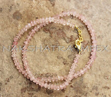 Rose Quartz 3-4mm Roundel Faceted Beaded 15.50 Inches Gold Plated Necklace