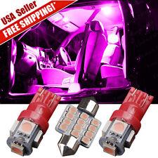 "4X High Lumen Pink LED Conversion SMD Package Kit T10 194 + Festoon 1.22"" DE3175"