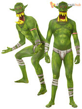 Mens Orc Jaw Dropper Morphsuit Halloween Fancy Dress Costume Extra Large