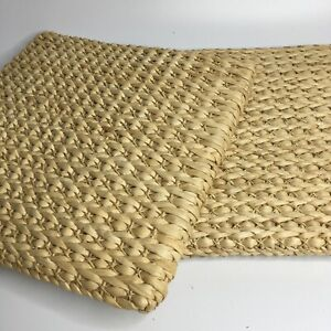Set of 2 Thickened Grass Rattan Weave Square Seat Chair Cushion Pad Boho Futon