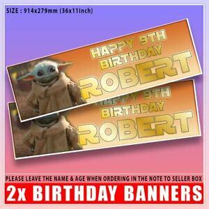 "Personalised Baby Yoda Star Wars Grogu Birthday Banner x2 Any Age Name 36""x 11"""